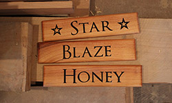 stable tags star, blaze and honey text on macrocarpa timber