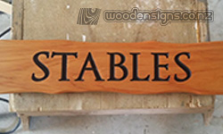 Wooden Stables sign carved Macrocarpa