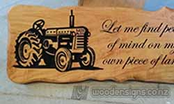 Carved farm sign tractor with engraved letters